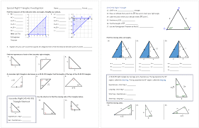 Lesson on Special Right Triangles Worksheet